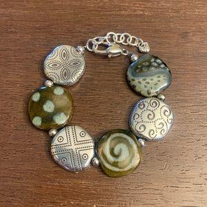 Brighton Silver / Ceramic Disc Bracelet